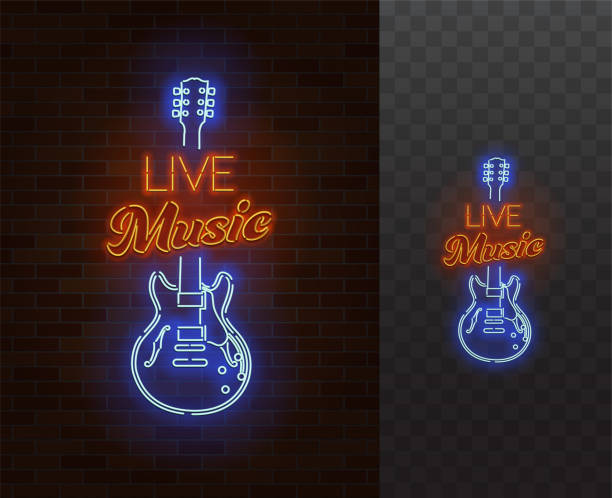 Live Music Neon Sign. Guitar with caption. Realistic vector illustration. vector art illustration