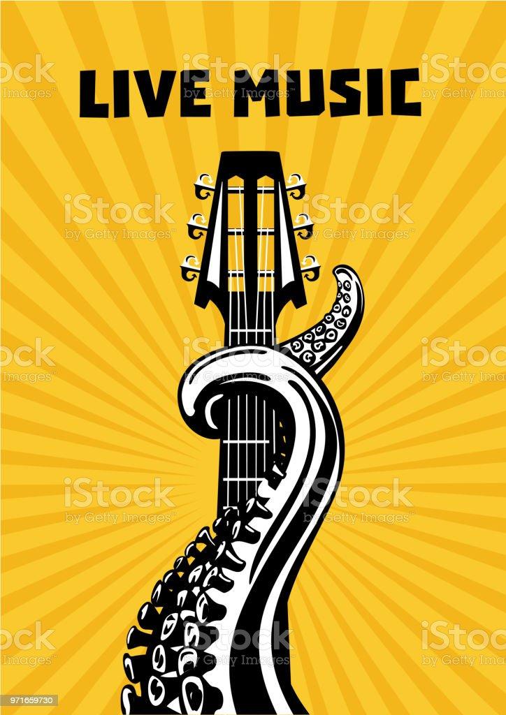 Musique En Direct Tentacules De Poulpe Avec La Guitare Fond Musical