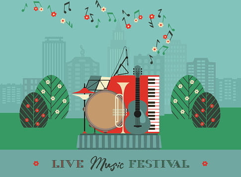 Live Music Outdoor Festival Poster Template
