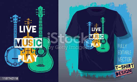 Live music play lettering slogan retro sketch style acoustic guitar, banjo, violin, fiddle for t shirt design print posters kids boys girls. Hand drawn vector illustration.