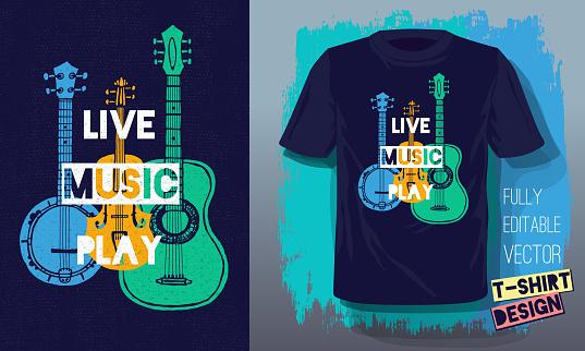 Live music play lettering slogan retro sketch style acoustic guitar, banjo, violin, fiddle for t shirt design