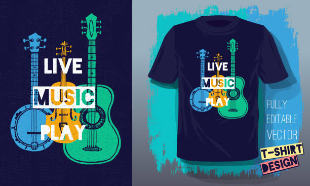 live music play lettering slogan retro sketch style acoustic guitar, banjo, violin, fiddle for t shirt design - instrument strunowy stock illustrations