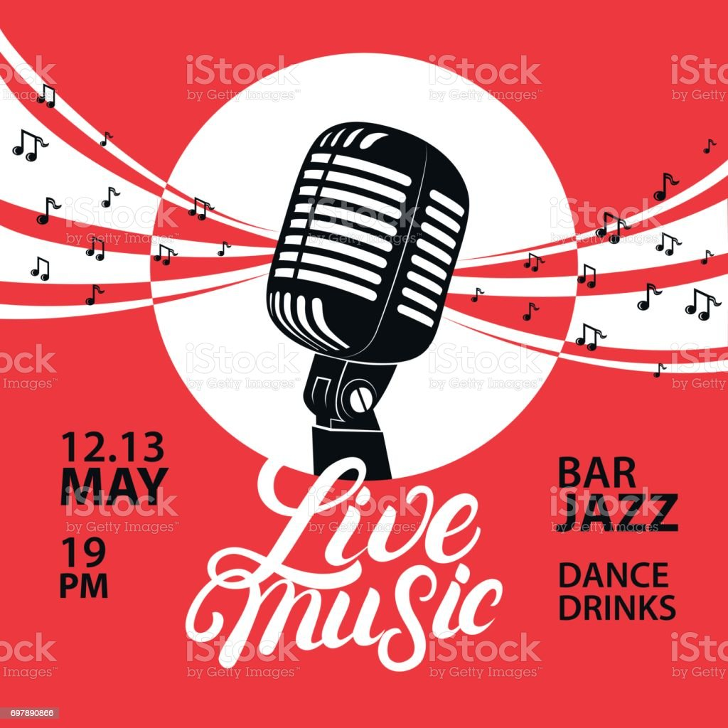 Live music poster with a microphone for concert, party. vector art illustration