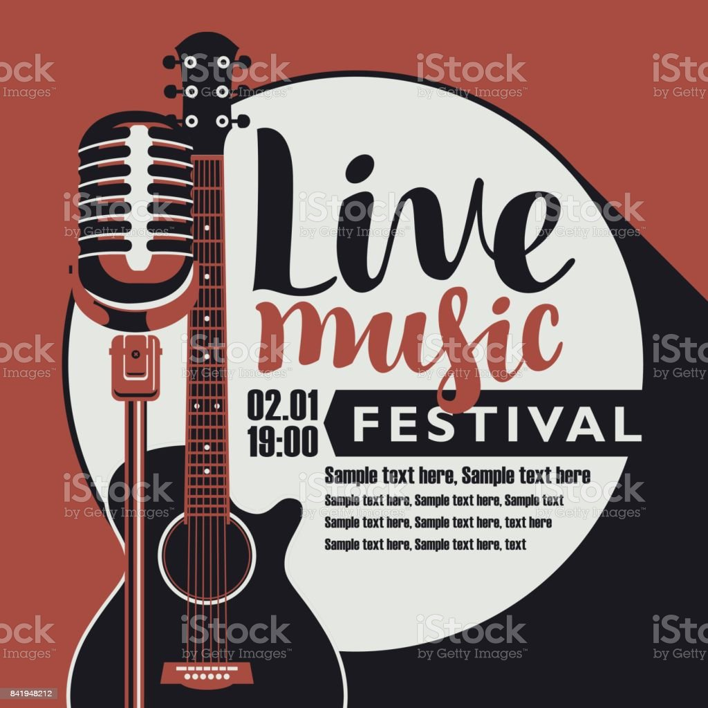 Livemusikposter Mit Gitarre Und Mikrofon Stock Vektor Art und mehr ...
