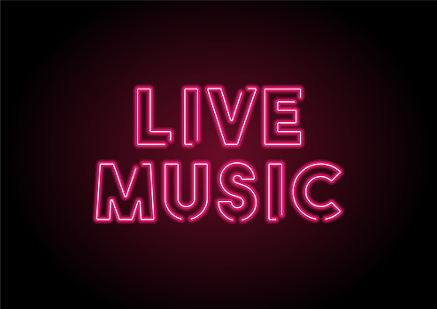 Live Music Red Neon Light On Black Wall