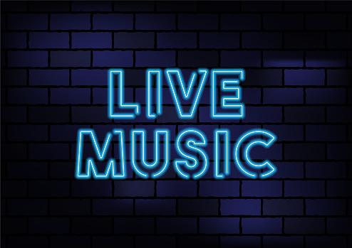 Live Music Sign Blue Neon Light On Dark Brick Wall
