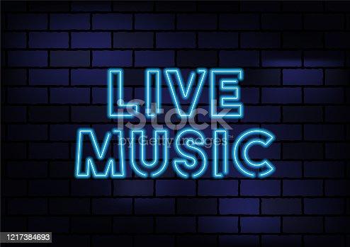 istock Live Music Sign Blue Neon Light On Dark Brick Wall 1217384693