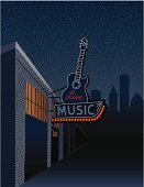A hand-drawn scene for a live music venue in the city. Neon retro guitar sign with space for text and additional content.