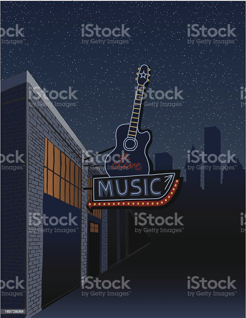 Live Music Sign in the City vector art illustration