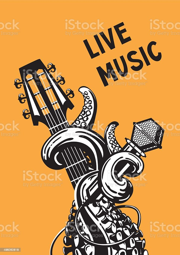live music Rock poster with a guitar, microphone and tentacles. 2015 stock vector