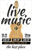 Live music vector poster, banner, placard for cafe, pub, restaurant, festival, website, public place and etc.