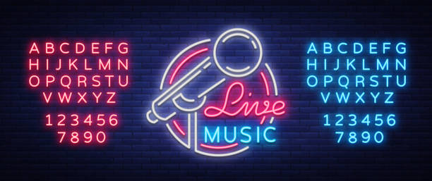 illustrazioni stock, clip art, cartoni animati e icone di tendenza di live musical vector neon icon, sign, emblem, symbol poster with microphone. bright banner poster, neon bright sign, nightlife club advertising, karaoke, bar and other institutions with music. editing text neon sign - concerto