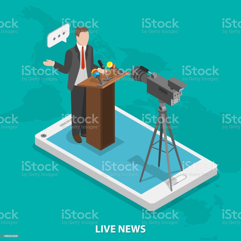 Flachbildfernseher mit Live-Nachrichten isometrische Vektor-Konzept. – Vektorgrafik