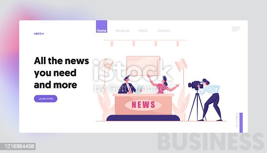 istock Live News in Broadcasting Production Studio Landing Page Template. Mass Media Television with Presenter Characters, Cameraman Shooting Crew, Global Breaking News. Cartoon People Vector Illustration 1216964458