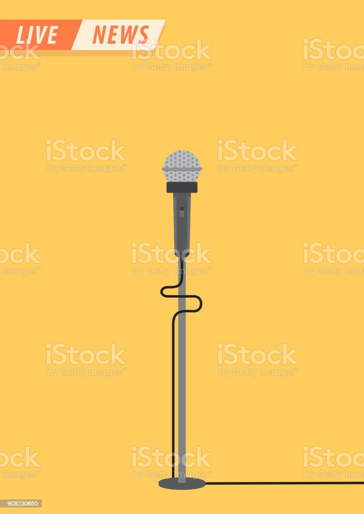 Live news. Microphone in flat style. News illustration. News on TV and radio. Interview. Vector illustration design.