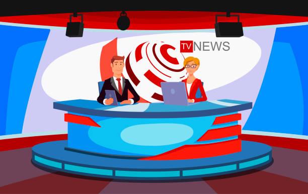 illustrations, cliparts, dessins animés et icônes de entretien d'accueil nouvelles voir la live tv. un studio de télévision, une émission de nouvelles de télévision en direct. - interview