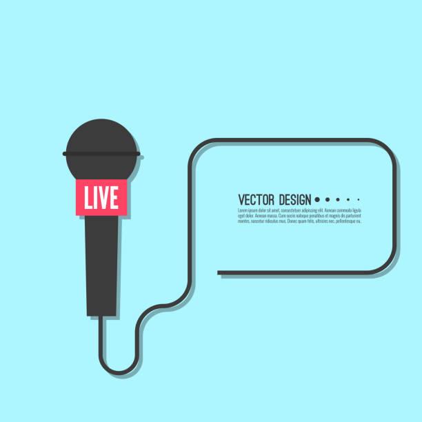 stockillustraties, clipart, cartoons en iconen met live nieuws sjabloon. - journaal presentator