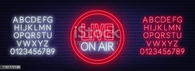 istock Live on air neon glowing sign on brick wall background. Template for design. Neon alphabet . 1151172135