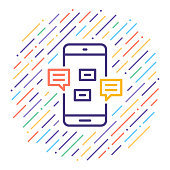 Line vector icon illustration of live online chat with abstract lines background.