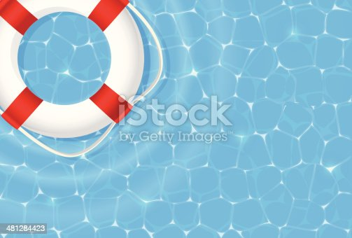 Swimming pool with a life buoy. A lot of copy space.