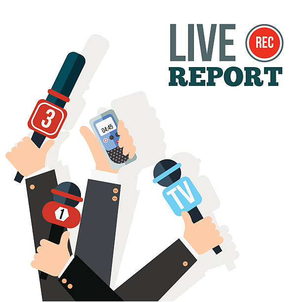 stockillustraties, clipart, cartoons en iconen met live report concept - journaal presentator