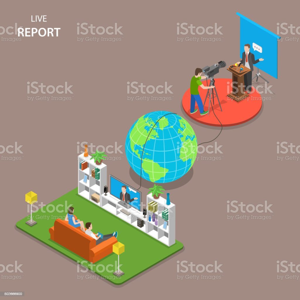 Live report isometric flat vector concept. vector art illustration
