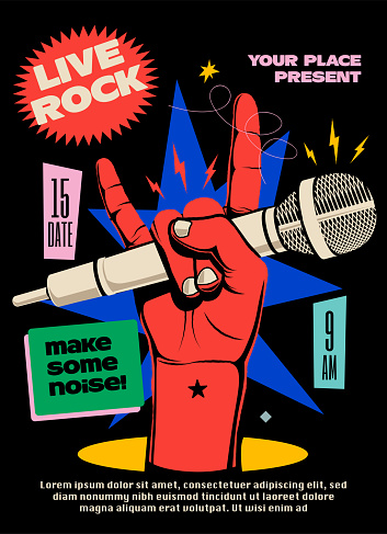 Live rock music show or concert or festival poster or flyer or banner design template with red raised hand with microphone showing devil horns gesture on black background. Vector illustration