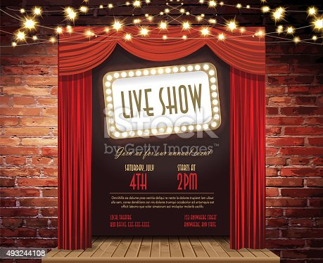 Vector illustration Live show Stage Rustic brick wall, elegant string lights, curtains background. Poster design or invitation template, easy to edit on separate layers. Includes spot light and strings with sparkling lights on a textured brick wall. Perfect for comedy night, entertainment, stage show, theatrical show, special improv comedy night, wedding invite, event invite.