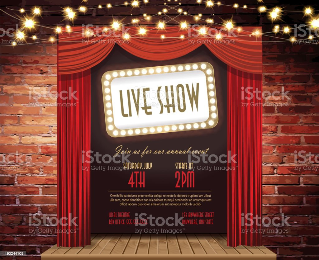 Live show Stage Rustic brick wall, elegant string lights, curtains vector art illustration