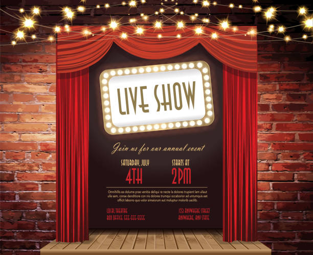 Live show Stage Rustic brick wall, elegant string lights, curtains Vector illustration Live show Stage Rustic brick wall, elegant string lights, curtains background. Poster design or invitation template, easy to edit on separate layers. Includes spot light and strings with sparkling lights on a textured brick wall. Perfect for comedy night, entertainment, stage show, theatrical show, special improv comedy night, wedding invite, event invite. nightlife stock illustrations