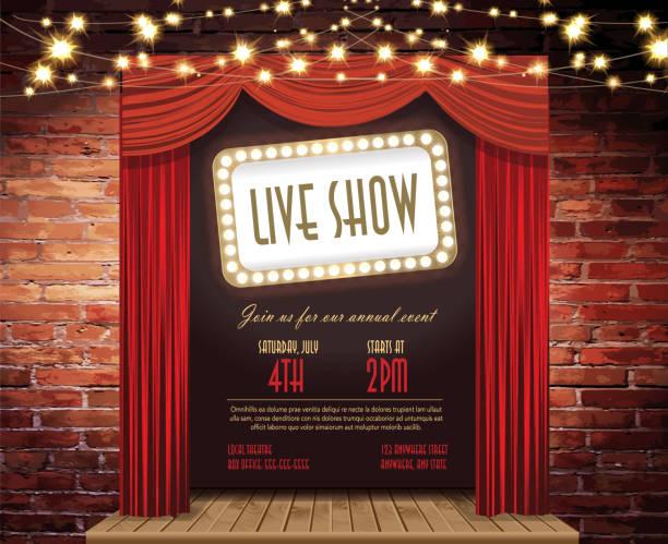 ライブステージショーの素朴なレンガの壁、上品な照明、カーテンのストリング - ステージ点のイラスト素材/クリップアート素材/マンガ素材/アイコン素材