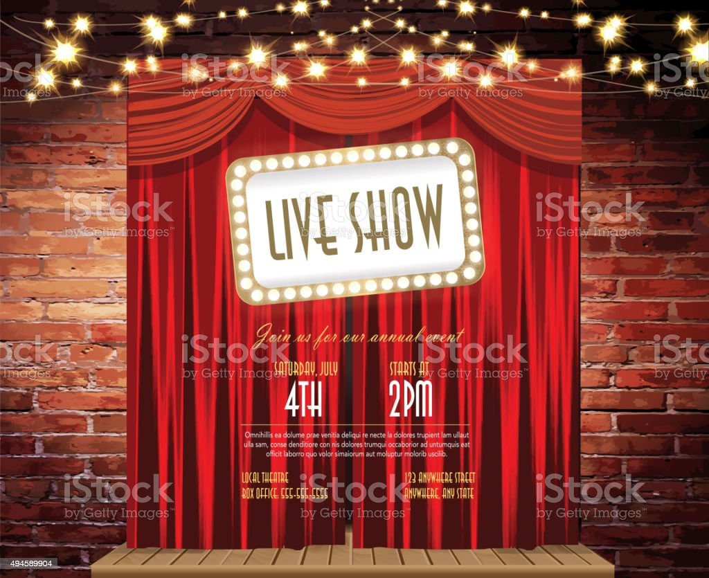 Live Show Stage Rustic Brick Wall String Lights Closed Curtains ...