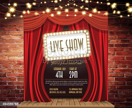 istock Live show Stage Rustic brick wall,  string lights, open curtains 494589788