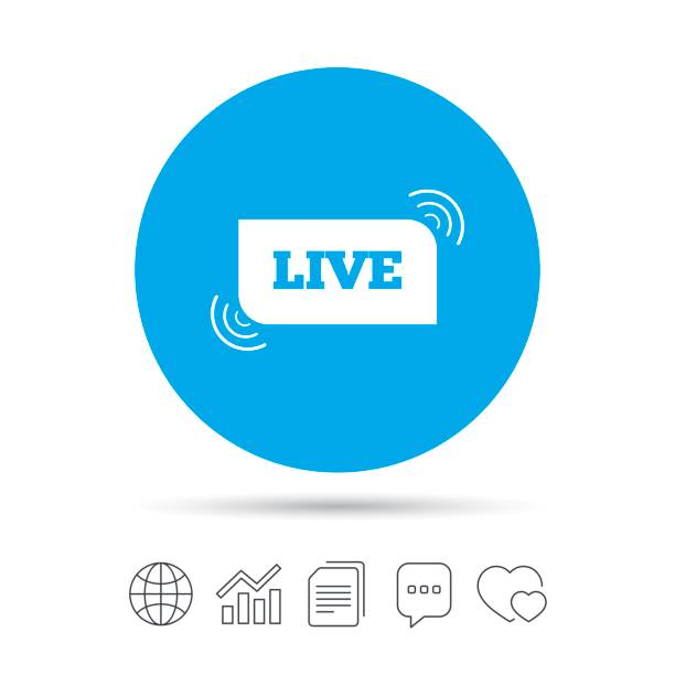 Royalty Free Live Sign Icon On Air Stream Symbol Clip Art Vector