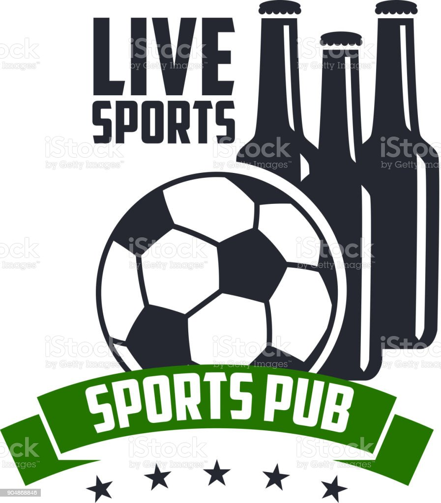 Soccer live sports pub icon template for football game championship...