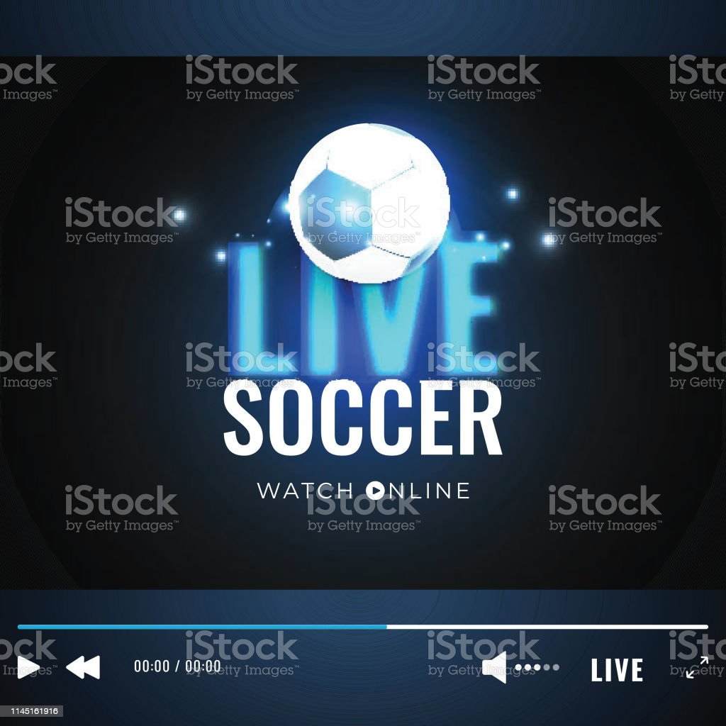 Live Soccer video play window with soccer ball illustration for...
