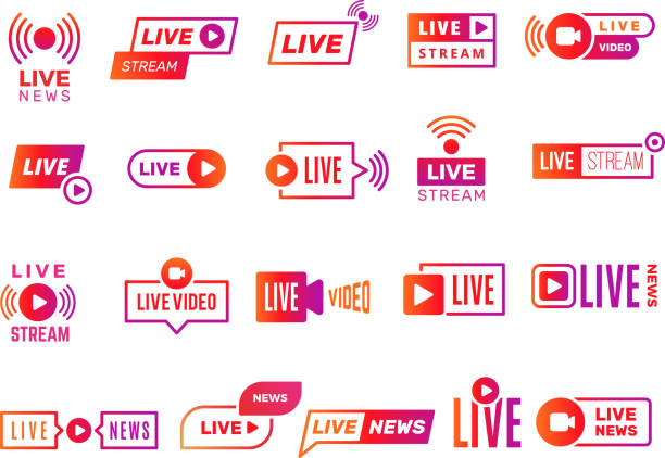 Live stream badges. Video broadcasting shows digital online text templates live news vector stickers collection Live stream badges. Video broadcasting shows digital online text templates live news vector stickers collection. Illustration video stream, live streaming online vitality stock illustrations
