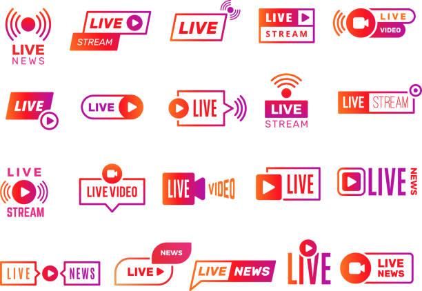 ilustrações de stock, clip art, desenhos animados e ícones de live stream badges. video broadcasting shows digital online text templates live news vector stickers collection - energia