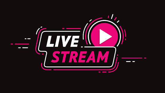 live stream web banner design. Symbol for internet broadcasting, TV, news channels, shows, movies. For UI design elements. Video cover design for social media