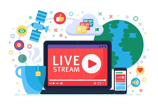 Live stream concept icon. Online broadcast news idea