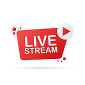 Live stream flat logo - red vector design element with play button. Vector stock illustration
