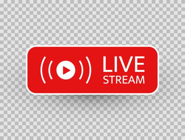 stockillustraties, clipart, cartoons en iconen met live stream-pictogram. live streaming, video, nieuws symbool op transparante achtergrond. sjabloon voor sociale media. uitzenden, online streamen knop. sociaal netwerk ondertekenen. vector illustratie - vitaliteit