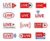 Live stream icon set, online broadcasting symbol. Online streaming media broadcast in real time. Vector illustration on white background