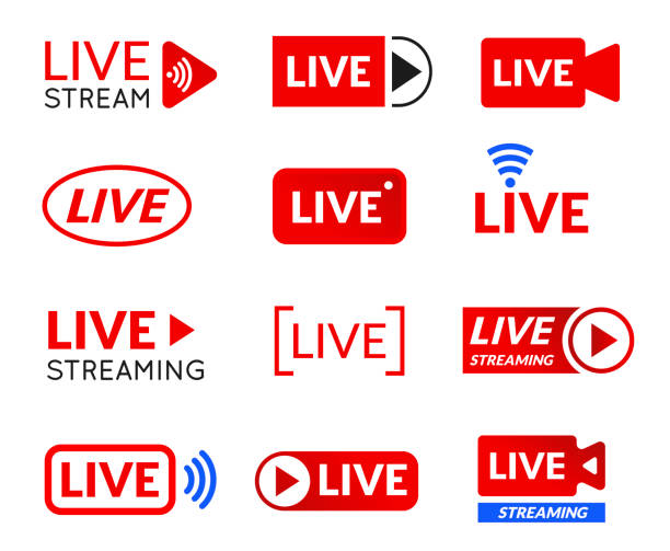 Live stream icon set, online broadcasting symbol Live stream icon set, online broadcasting symbol. Online streaming media broadcast in real time. Vector illustration on white background broadcasting stock illustrations