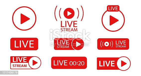 Live stream icon set. Social media template. Live streaming, video, news symbol on transparent background. Broadcasting, online stream. Play button. Social network sign. Vector illustration.