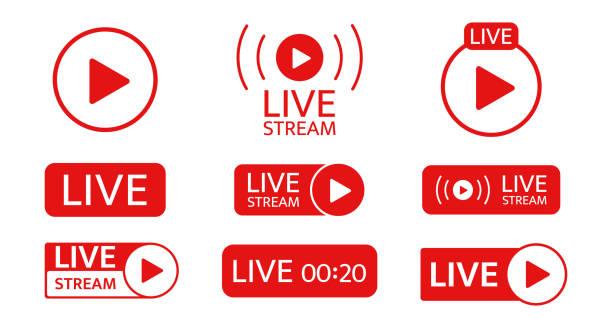 ilustrações, clipart, desenhos animados e ícones de conjunto de ícones de transmissão ao vivo. modelo de mídia social. transmissão ao vivo, vídeo, símbolo de notícias em fundo transparente. transmissão, transmissão online. botão de reprodução. sinal de rede social. ilustração vetorial - live
