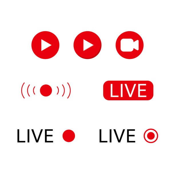 Live stream logo Live stream logo . Online broadcasting icons set broadcasting stock illustrations