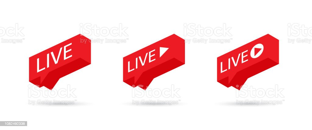 Live Stream sign, emblem, logo. Social media icon LIVE streaming. Speech bubble. Vector illustration. vector art illustration