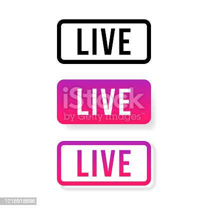 Live Stream sign, emblem, logo. Vector Illustration. Social media icon live streaming.