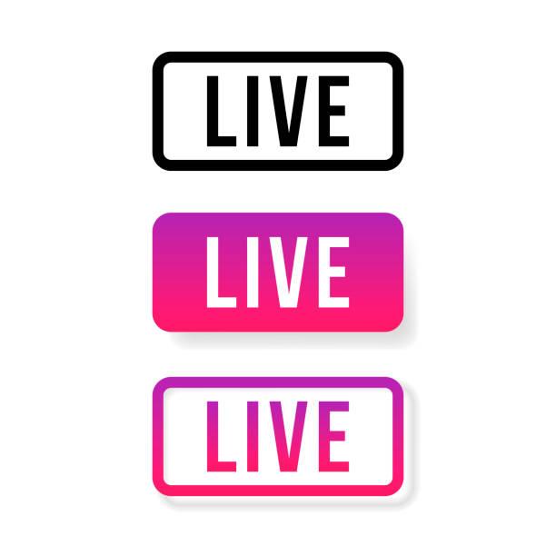 live stream sign, emblem, logo. vector illustration. social media icon live streaming - instagram stock illustrations